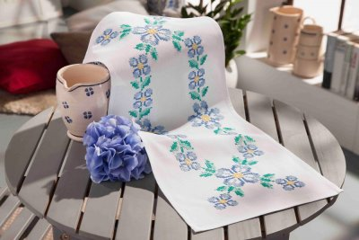 click here to view larger image of Blue Summer - Table Runner (stamped cross stitch kit)