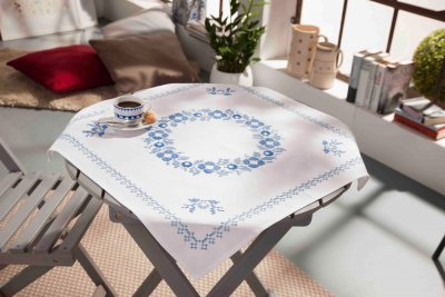 click here to view larger image of Classic Blue - Tablecloth (stamped cross stitch kit)