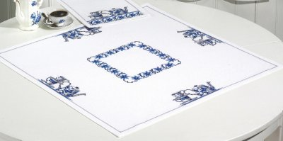 click here to view larger image of Blue Kitchen Table Cloth (counted cross stitch kit)