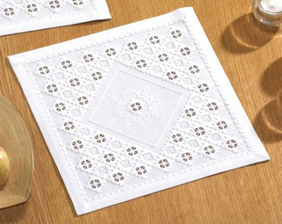 click here to view larger image of Hardanger Table Topper (Hardanger and Cut Work)
