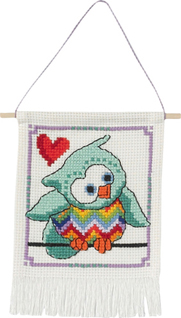 click here to view larger image of MFK Blue-Green Owl (counted cross stitch kit)