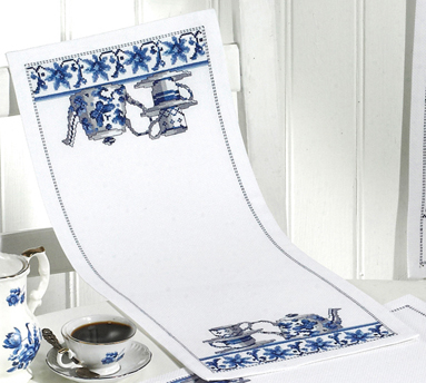 click here to view larger image of Blue Kitchen Table Runner (counted cross stitch kit)