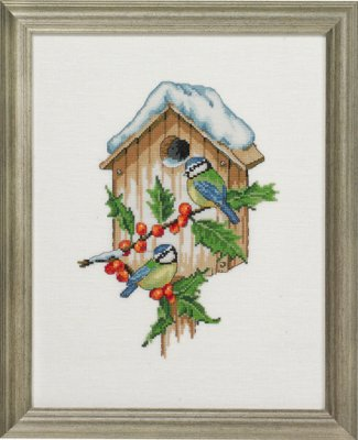 click here to view larger image of Winter Titmice - Linen (counted cross stitch kit)