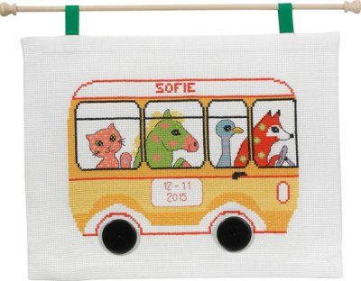 click here to view larger image of Bus Birthday (counted cross stitch kit)