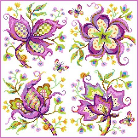 click here to view larger image of Jacobean Lavender Quartet (chart)