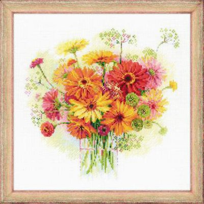 click here to view larger image of Watercolor Gerberas (counted cross stitch kit)