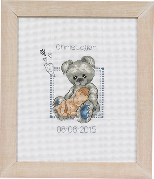 click here to view larger image of Baby Boy and Teddy Birth Announcement (counted cross stitch kit)