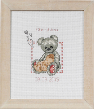click here to view larger image of Baby Girl and Teddy Birth Announcement (counted cross stitch kit)