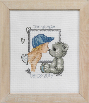 click here to view larger image of Boy and Teddy Birth Announcement (counted cross stitch kit)