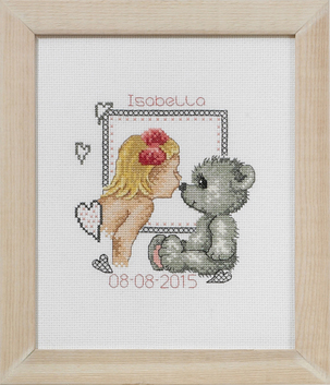 click here to view larger image of Girl and Teddy Birth Announcement (counted cross stitch kit)