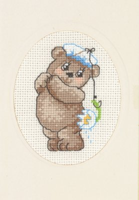 click here to view larger image of Fish Teddy Card with Envelope (counted cross stitch kit)