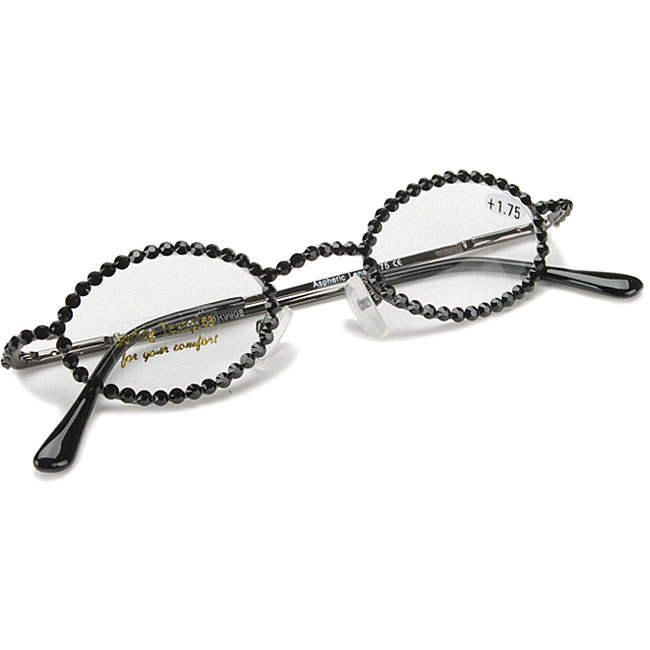 click here to view larger image of Oval Armani Style Reading Glasses W/Full Stones - Topaz - 2.00 (accessory)