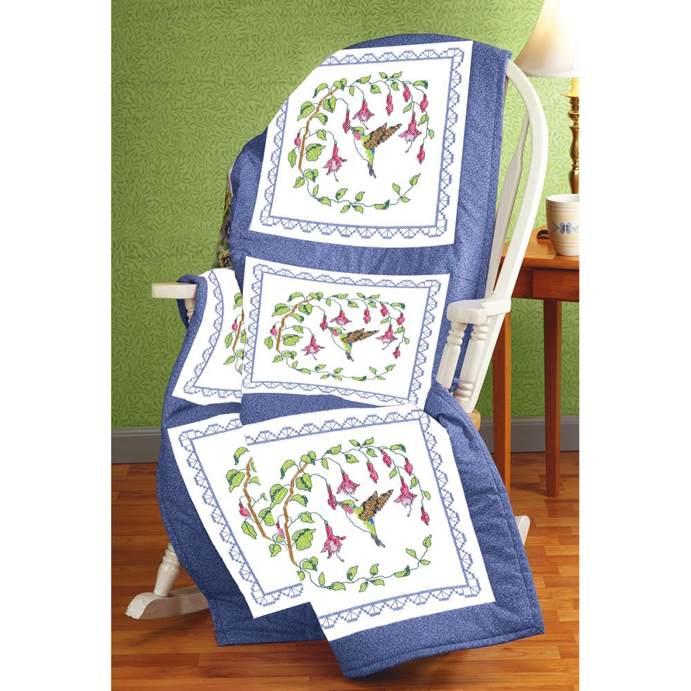 click here to view larger image of Hummingbird Stamped Quilt Blocks (stamped cross stitch)