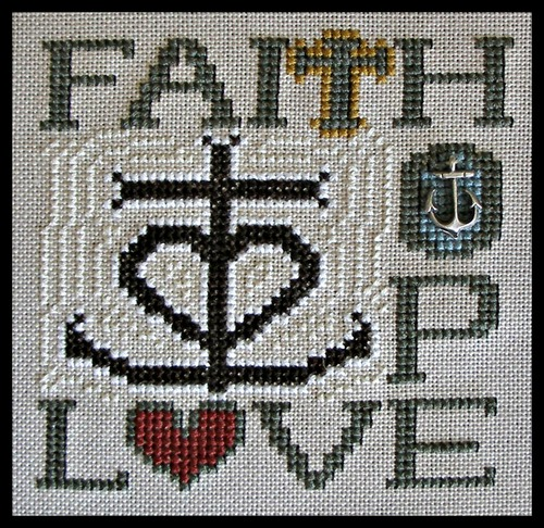 click here to view larger image of Charmed Wordplay - Faith Hope Love (chart with charms/buttons)
