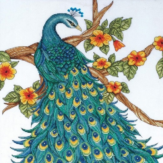 click here to view larger image of Peacock (counted cross stitch kit)