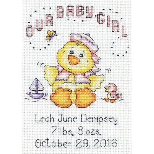 click here to view larger image of Our Baby Girl Chick Birth Record (counted cross stitch kit)