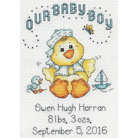 click here to view larger image of Our Baby Boy Chick Birth Record (counted cross stitch kit)