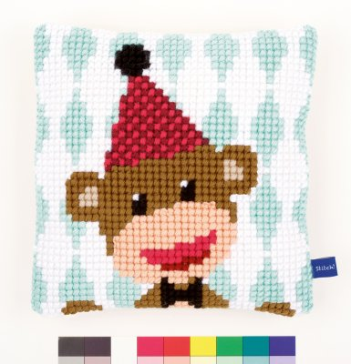 click here to view larger image of Circus Monkey Cushion (needlepoint)