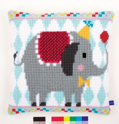 click here to view larger image of Circus Elephant Cushion (needlepoint)