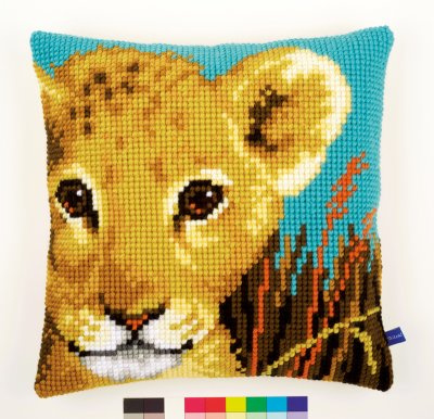 click here to view larger image of Lion Cub Cushion (needlepoint)