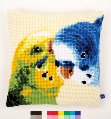 click here to view larger image of Parakeets Cushion (needlepoint)