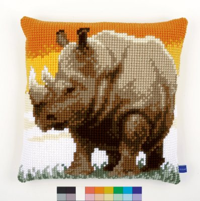 click here to view larger image of African Rhino Cushion (needlepoint)