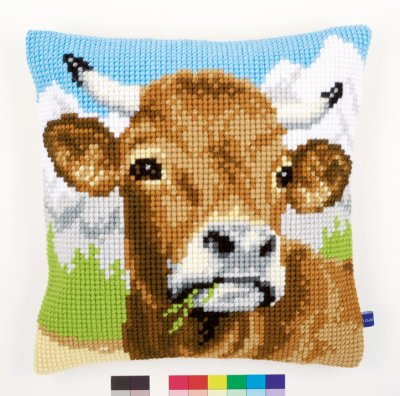 click here to view larger image of Cow with Horns Cushion (needlepoint)