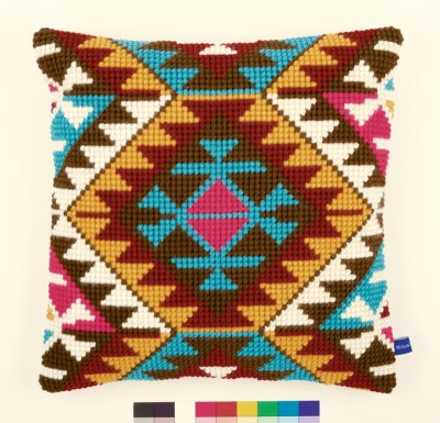 click here to view larger image of Ethnic Print Cushion (needlepoint)