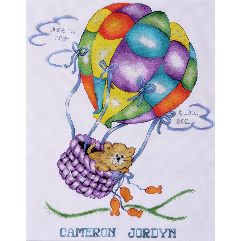 click here to view larger image of Balloon Cat Birth Record (counted cross stitch kit)