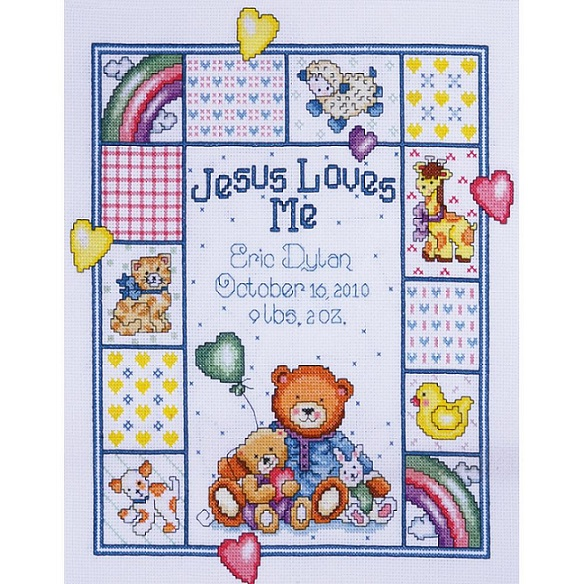 click here to view larger image of Jesus Loves Me Sampler (counted cross stitch kit)