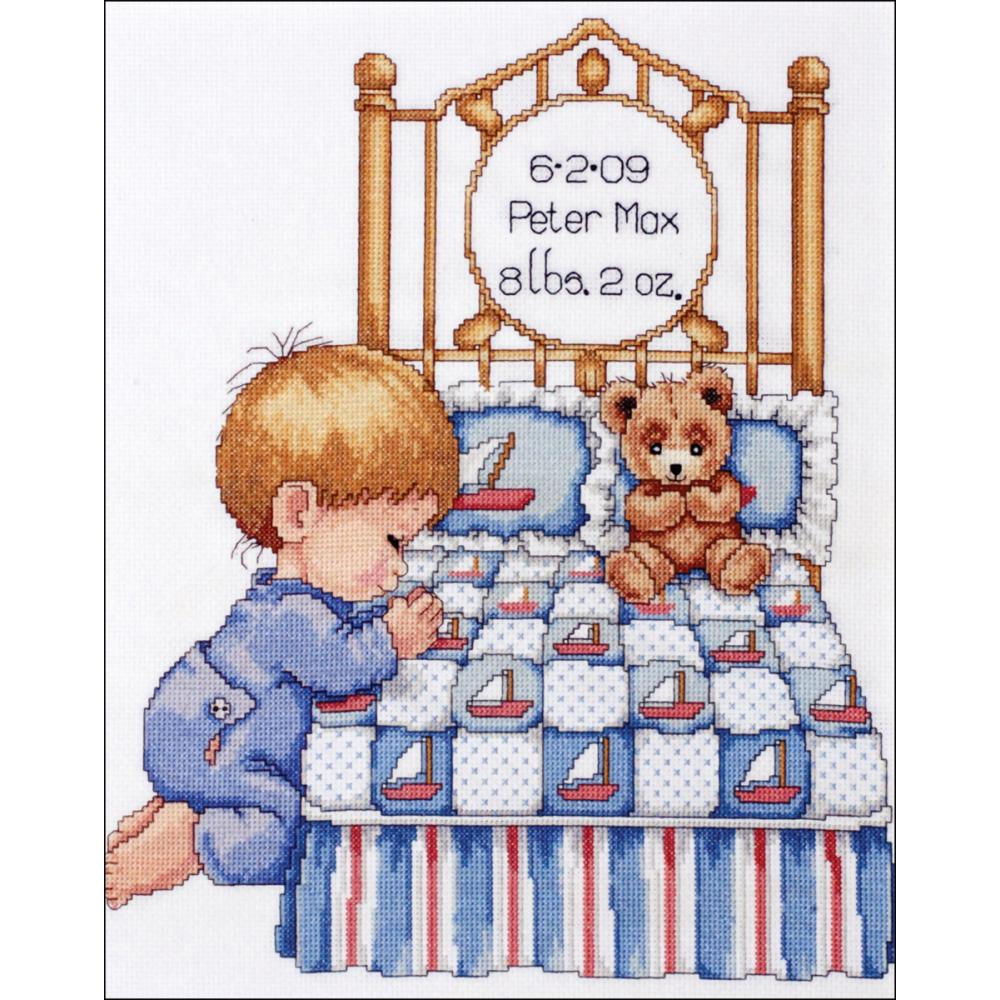 click here to view larger image of Bedtime Prayer Boy Birth Record (counted cross stitch kit)