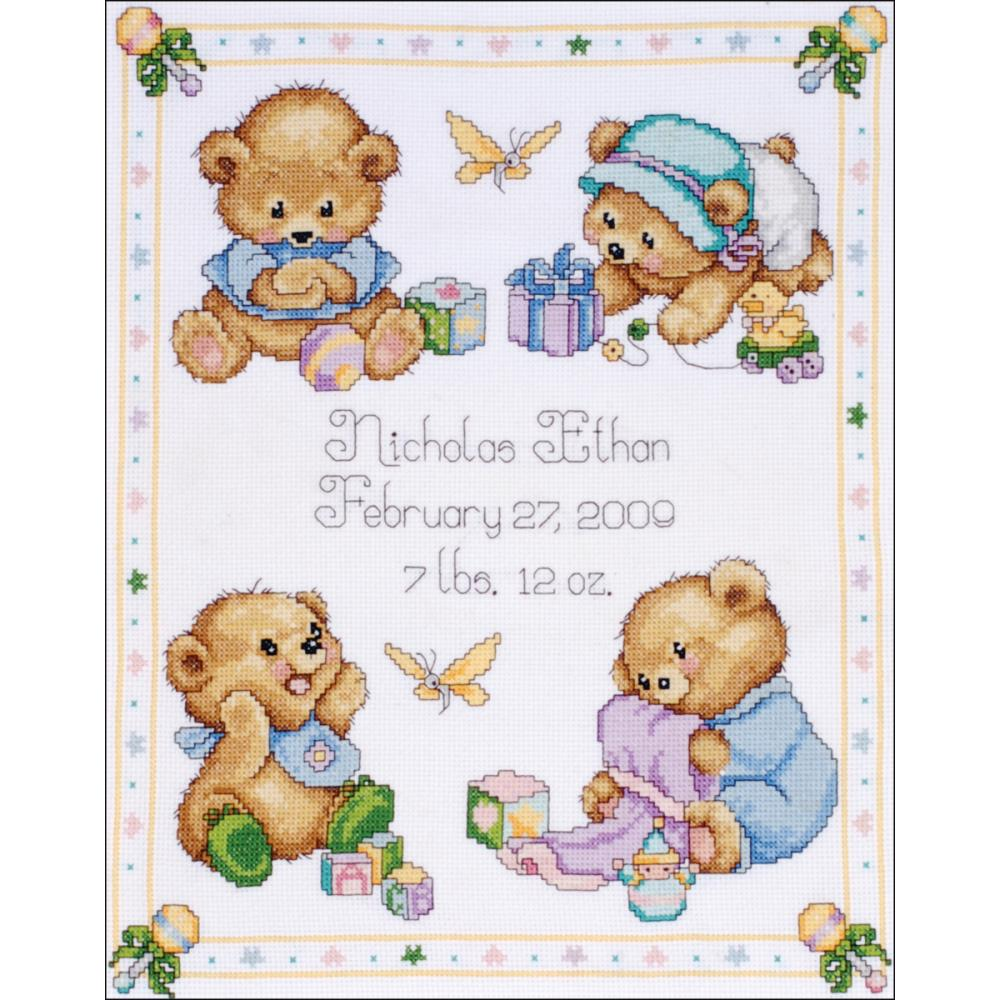 click here to view larger image of Baby Bears Birth Record (counted cross stitch kit)