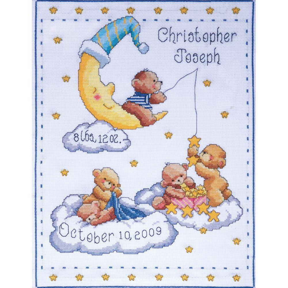 click here to view larger image of Bears in Clouds Birth Record (counted cross stitch kit)