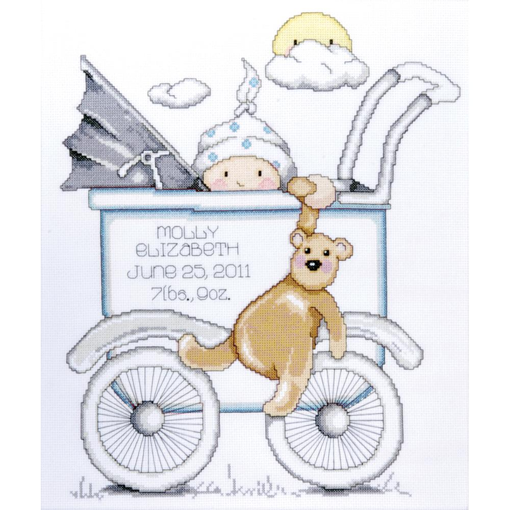 click here to view larger image of Baby Buggy Boy Birth Record (counted cross stitch kit)
