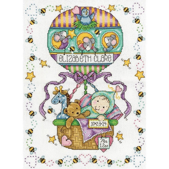 click here to view larger image of Balloon Ride Birth Record (counted cross stitch kit)