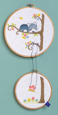 click here to view larger image of Bird On Swing (Set of 2) (counted cross stitch kit)