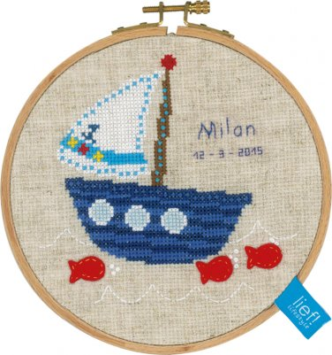 click here to view larger image of Boat With Fish (counted cross stitch kit)