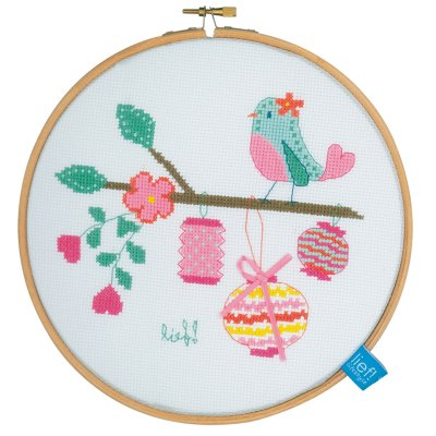 click here to view larger image of Bird With Lanterns (counted cross stitch kit)