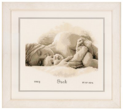 click here to view larger image of First Hug Birth Announcement (counted cross stitch kit)