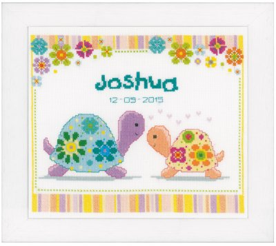 click here to view larger image of Colorful Turtles Birth Announcement (counted cross stitch kit)