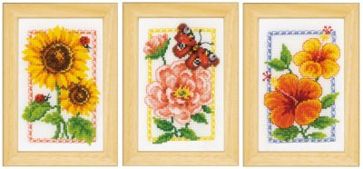 click here to view larger image of Mini Summer Flower - Set of 3 (counted cross stitch kit)