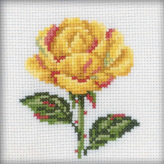 click here to view larger image of Yellow Rose (counted cross stitch kit)
