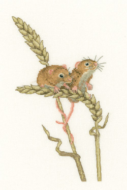 click here to view larger image of Harvest Mice - Little Darlings (Aida) (counted cross stitch kit)