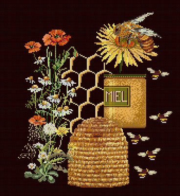 click here to view larger image of Bee Hive - Black (counted cross stitch kit)