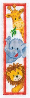 click here to view larger image of Bookmark - Giraffe, Elephant, Lion (counted cross stitch kit)