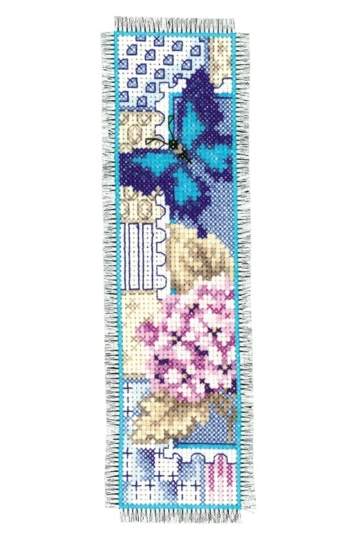 click here to view larger image of Hydrangea and Butterfly Bookmark (counted cross stitch kit)