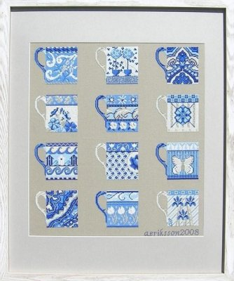 click here to view larger image of Blue Cups Sampler (counted cross stitch kit)