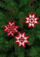 click here to view larger image of Hardanger Red Star Ornaments - Set of 3 Assorted (Hardanger and Cut Work)