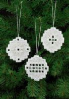 click here to view larger image of Hardanger Xmas Bulb Ornaments - Set of 3 Assorted (Hardanger and Cut Work)