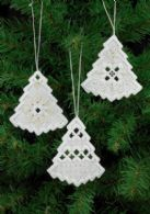 click here to view larger image of Hardanger Xmas Tree Ornaments - Set of 3 Assorted (Hardanger and Cut Work)
